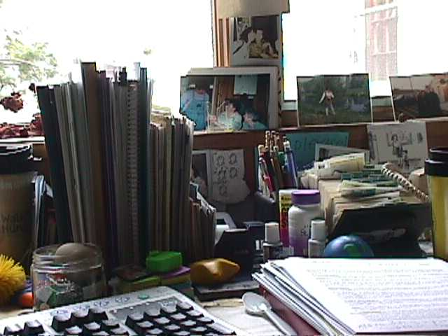 keyboard and items on a desk