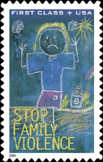 postage stamp with domestic violence theme